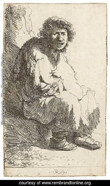 A Beggar seated on a Bank