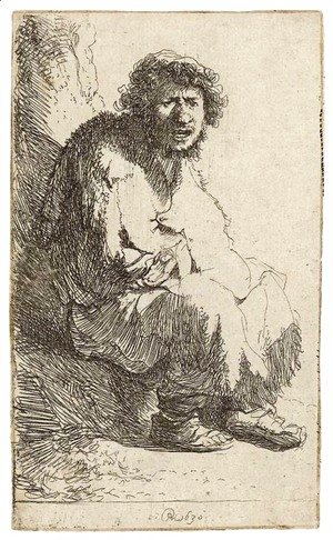 Rembrandt - A Beggar seated on a Bank
