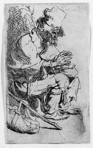 Rembrandt - A Beggar seated warming his Hands at a Chafing Dish
