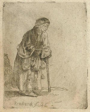 Rembrandt - A Beggar Woman leaning on a Stick