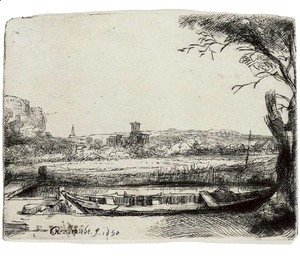 Rembrandt - A Canal with a large Boat and Bridge