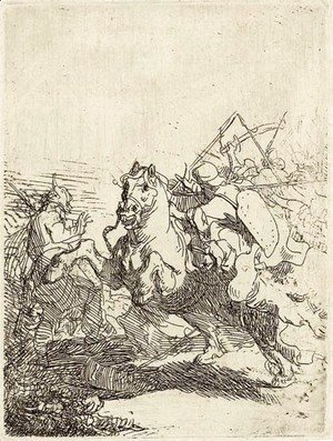 Rembrandt - A Cavalry Fight