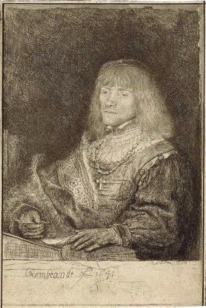 Rembrandt - A Man at a Desk wearing a Cross and Chain