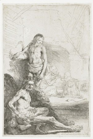 Rembrandt - A nude Man seated and another standing, with a Woman and a Baby lightly etched in the Background