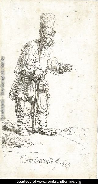 A Peasant in a high Cap, standing leaning on a Stick