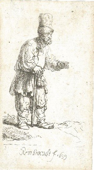 Rembrandt - A Peasant in a high Cap, standing leaning on a Stick