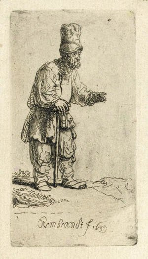 Rembrandt - A Peasant in a high Cap, standing leaning on a Stick 2