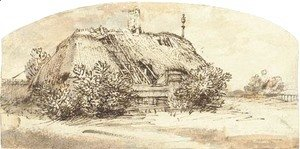 Rembrandt - A ruined thatched cottage overgrown with bushes