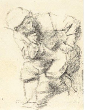 Rembrandt - A seated man leaning forward and looking to the right