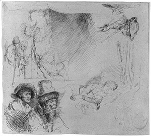 Rembrandt - A Sheet of Studies, with a Woman Lying ill in Bed, etc.