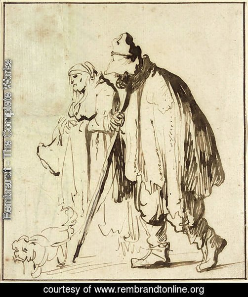 A vagrant couple with a dog