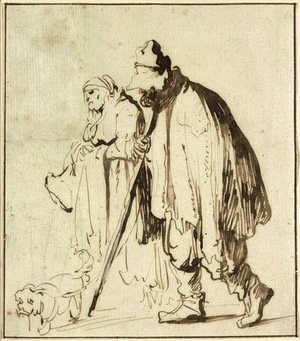 Rembrandt - A vagrant couple with a dog