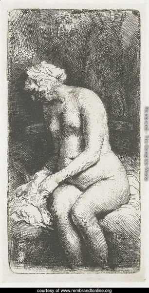 A Woman bathing her Feet at a Brook