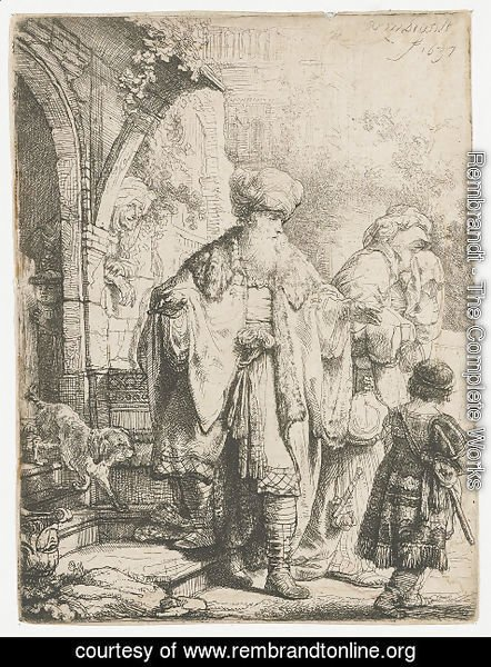 Rembrandt - Abraham casting out Hagar and Ishmael