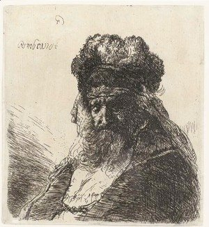An old bearded Man in a high Fur Cap, with Eyes closed