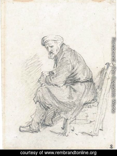 An old man wearing a turban seated in profile to the left
