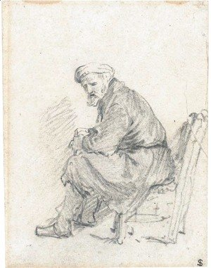 Rembrandt - An old man wearing a turban seated in profile to the left