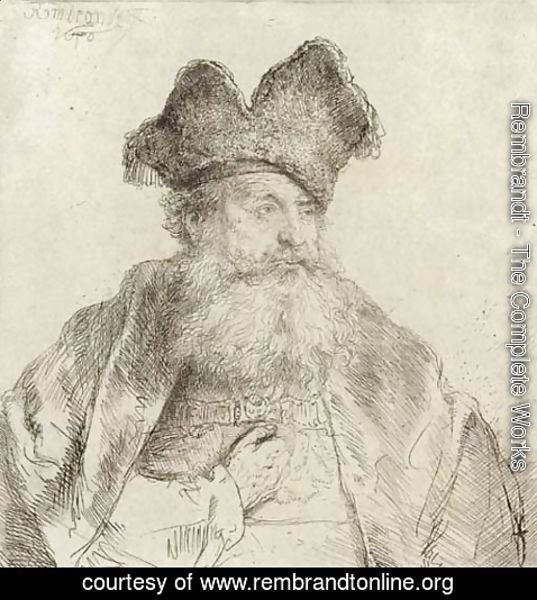 Rembrandt - An old Man with a divided Fur Cap