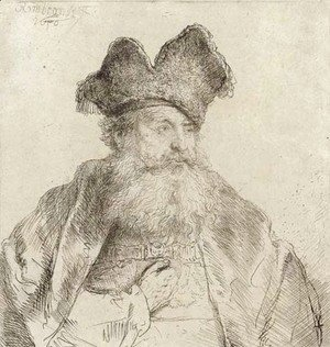 An old Man with a divided Fur Cap