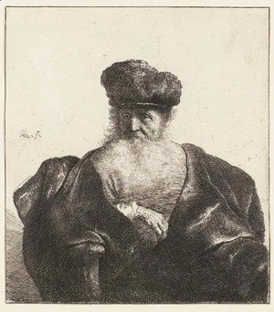 Rembrandt - An old Man with Beard, Fur Cap, and Velvet Coat