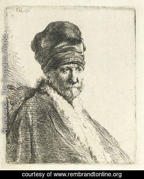 Rembrandt - Bust of a Man wearing a High Cap (The Artists Father )