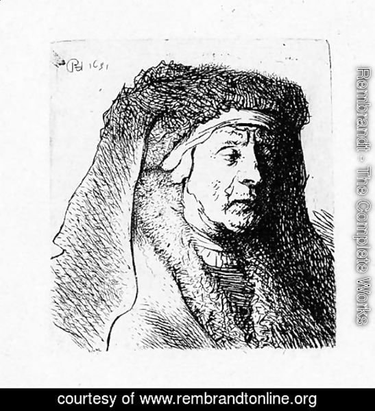 Rembrandt - Bust of an old Woman in a furred Cloak and heavy Headdress