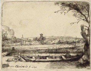Rembrandt - Canal with a large Boat and Bridge