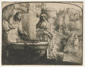 Rembrandt - Christ and the Woman of Samaria An arched Print
