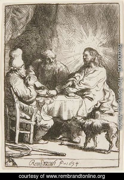 Rembrandt - Christ at Emmaus The smaller Plate