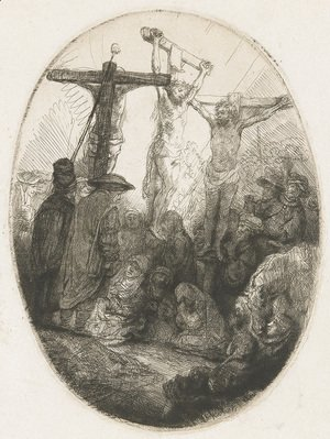 Rembrandt - Christ crucified between the two Thieves An oval Plate