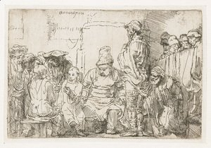 Rembrandt - Christ seated disputing with the Doctors