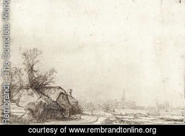 Rembrandt - Cottage beside a Canal A View of Diemen