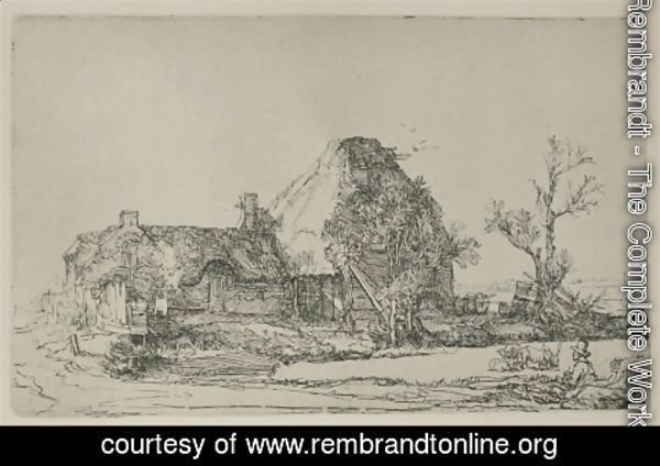 Rembrandt - Cottages and Farm Buildings with a Man sketching