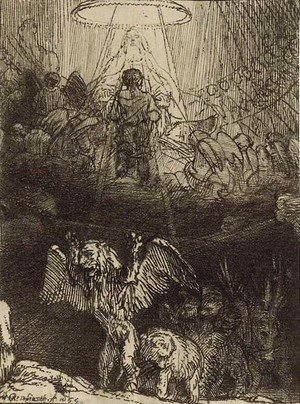 Rembrandt - Daniel's Vision of the Four Beasts, from Four Illustrations to a Spanish Book