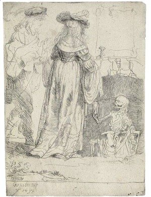 Rembrandt - Death appearing to a wedded Couple from an open Grave