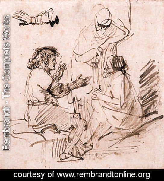 Joseph in Prison interpreting the Dreams of the Pharaoh's Baker and Butler, and a subsidiary study of an arm gesturing