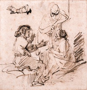Rembrandt - Joseph in Prison interpreting the Dreams of the Pharaoh's Baker and Butler, and a subsidiary study of an arm gesturing