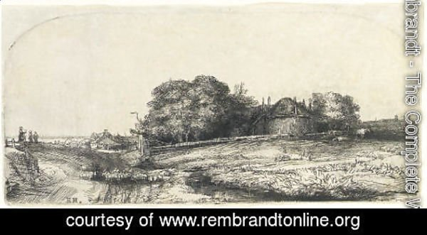 Rembrandt - Landscape with a Haybarn and a Flock of Sheep