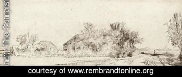 Rembrandt - Landscape with a Road beside a Canal