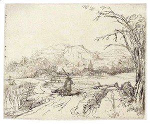 Rembrandt - Landscape with a Sportsman and Dog