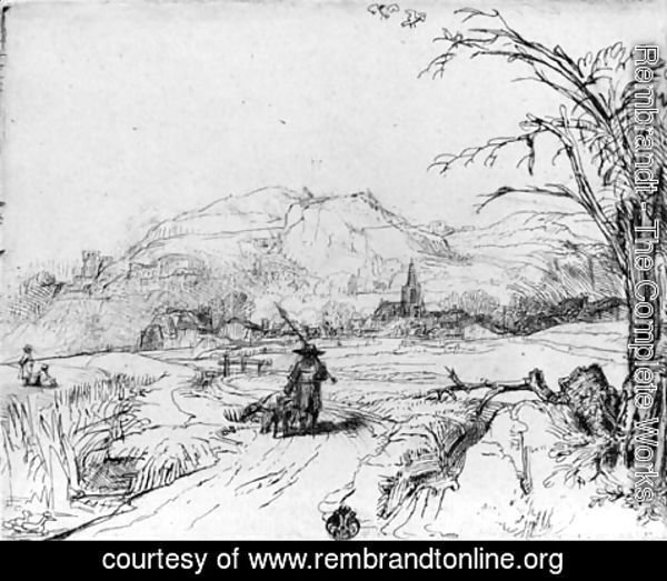 Rembrandt - Landscape with Sportsman and Dog