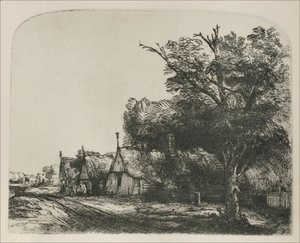 Rembrandt - Landscape with three gabled Cottages beside a Road