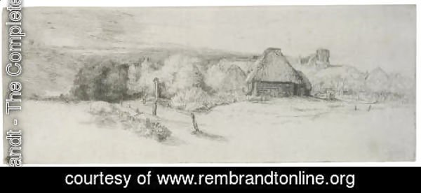 Rembrandt - Landscape with Trees, Farm buildings and a Tower