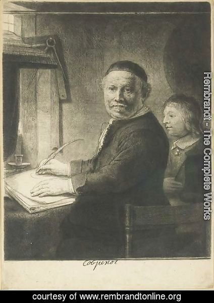 Rembrandt - Lieven Willemsz. van Coppenol, Writing-Master Small Plate