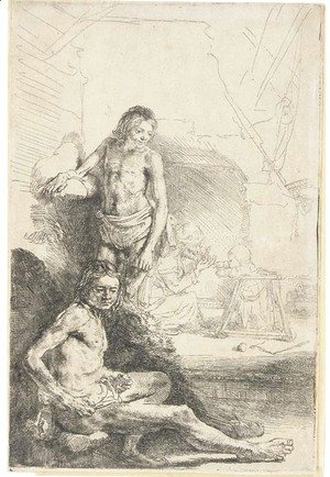 Rembrandt - Nude Man seated and another standing, with a Woman and a Baby lightly etched in the Background