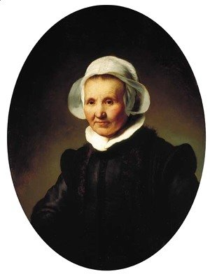 Rembrandt - Portrait of a lady, aged 62, perhaps Aeltje Pietersdr. Uylenburgh, wife of Johannes Cornelisz. Sylvius, half-length, in black costume