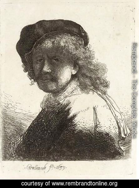 Rembrandt - Rembrandt in Cap and Scarf with the Face dark, Bust