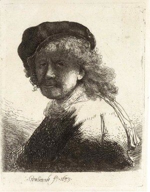 Rembrandt in Cap and Scarf with the Face dark, Bust
