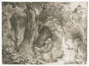 Rembrandt - Saint Francis beneath a Tree praying