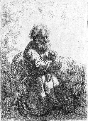 Rembrandt - Saint Jerome kneeling in Prayer, looking down